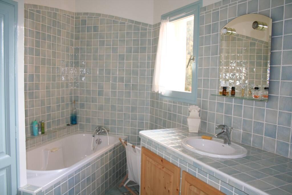 Une grande salle de bain avec baignoire et une deuxième avec douche.