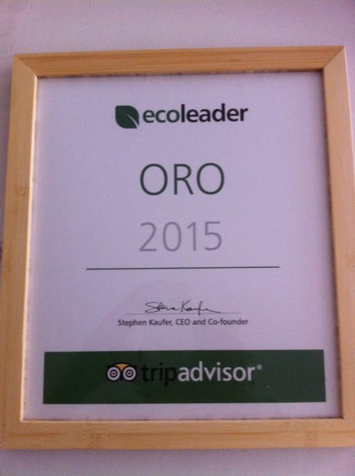 Riconoscimento Eco leader livello oro 2015 trip advisor
