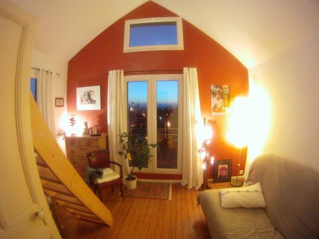 Chambre, terrasse vue ville et mer - Le Havre - Bed & Breakfast