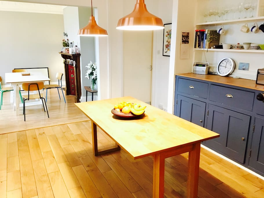 Kitchen and dining area, main table fits 11 and we also have a trestle table if you want to spread out