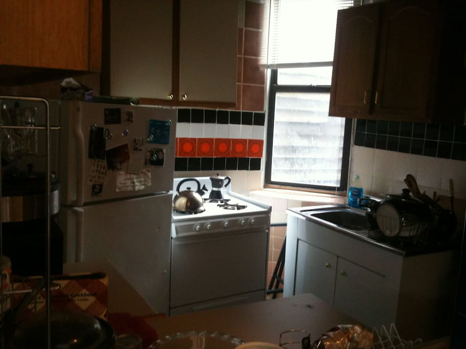The kitchen. It has a microwave, an oven, a stove, a nice fridge. There's also lots of storage space if you need any.
