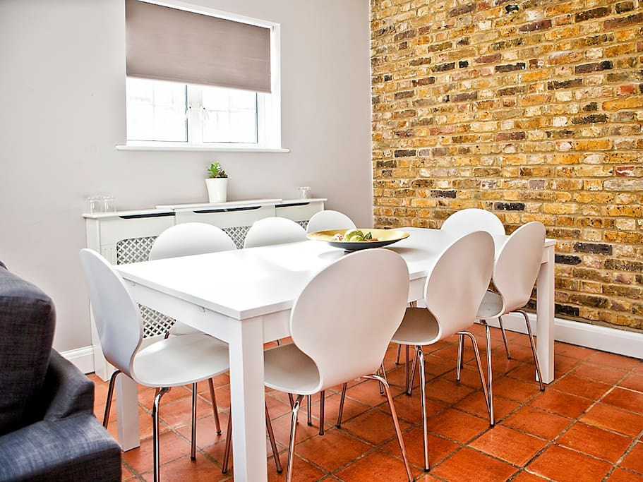 Dining area with large. expandable table, that can accommodate 12!