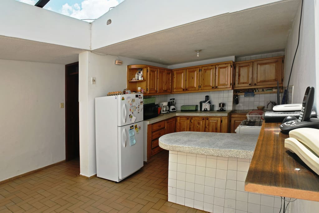 Our very bright and warm kitchen. Full equiped.