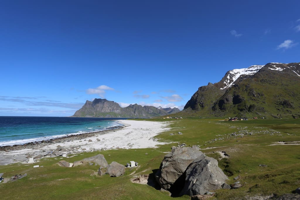 "Ballstad is sentered in the ""middle"" of Lofoten. A short walk, bike- or driving distance from the most famous beaches, places and mountains. Photo shows fantastic Uttakleiv beach."