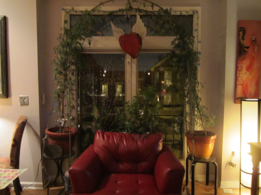 Cozy chair with plants