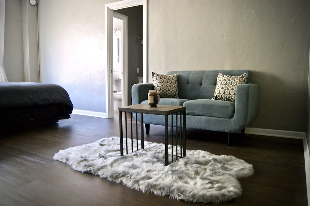 A soft faux rug to go with the love seat