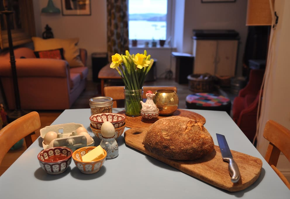 Guests can help themselves to breakfast: my home-made sourdough bread, local eggs and bacon, and my mum's (or local) jam.
