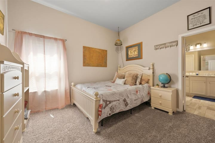 Second Master Bedroom - Queen size memory foam mattress bed - Large Bathroom with walk in closet - Take an adventure around the World