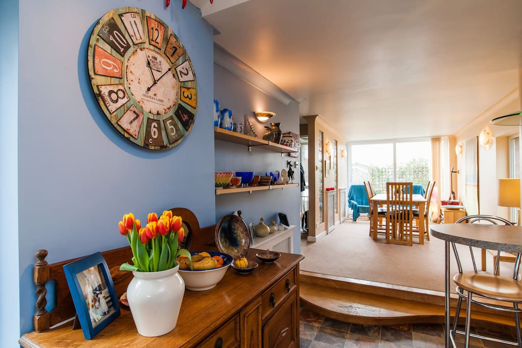 The kitchen and dining space.