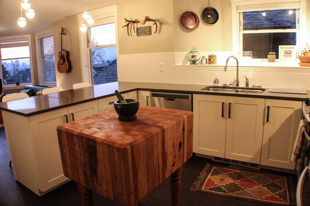 Spacious open concept kitchen with brand new appliances