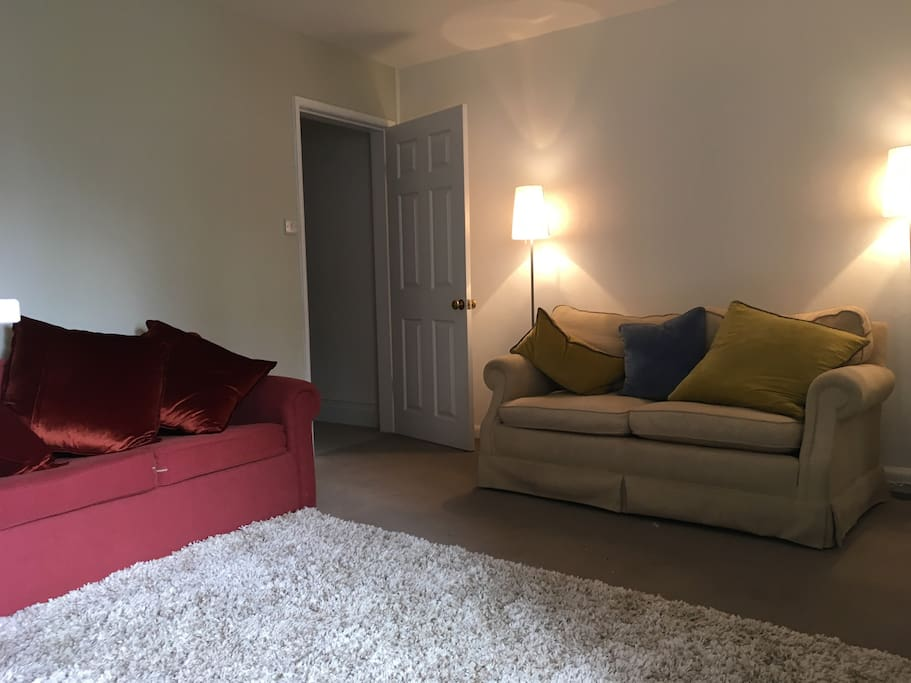 Spacious living area with sofa bed