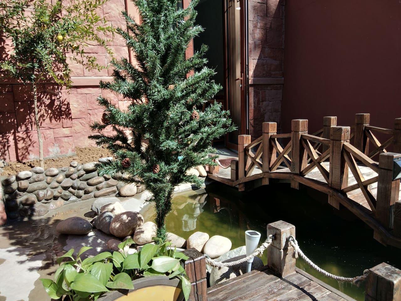 庭院是共享区域,可以观山,看看鱼儿戏水
