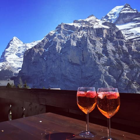 In Murren - spacious, awesome view, quiet, garden