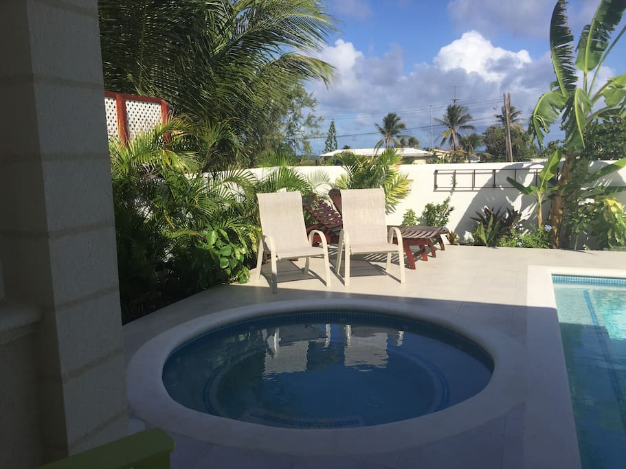 View from Master to jacuzzi( late afternoon)