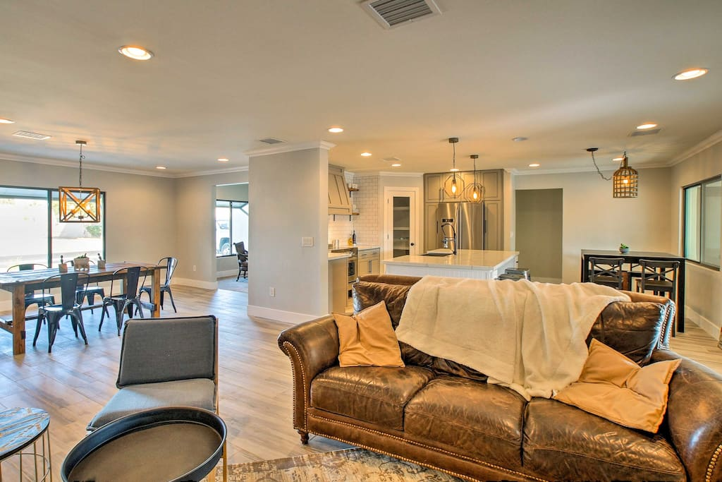 The open-concept living space ensures that each room flows flawlessly together.
