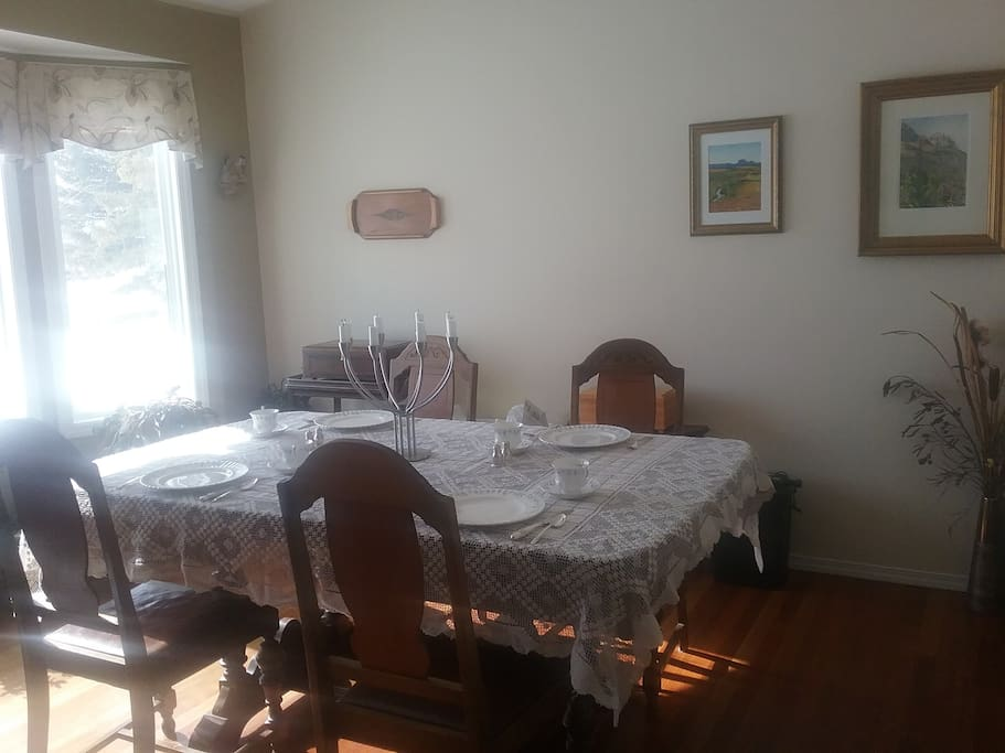 The breakfast table is ready for you at your convenience.  We offer a variety of choices for the hearty breakfasts you love, and are happy to cater to allergies.  You may also use the dining room anytime throughout your stay.
