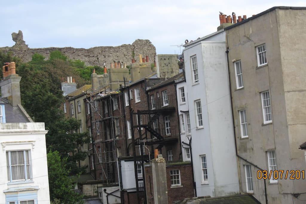 View up to Hastings Castle on West Hill