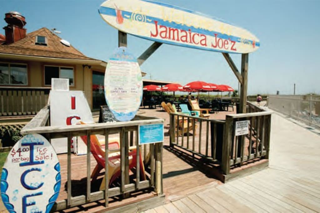 Jamaica Joes Beach restaurant is just 5 ft from the pool and 10ft from the beach. Best place to sneak in a few snacks between beach and/or pool time!!!