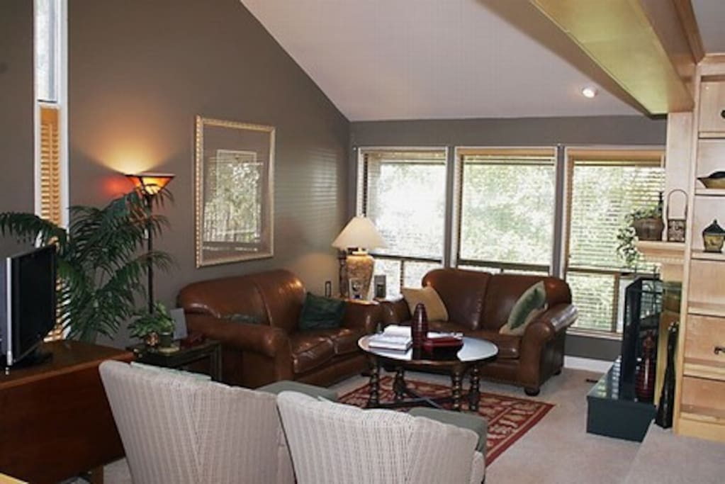Living room with fireplace and entertainment center, with views of the Salt Lake Valley.