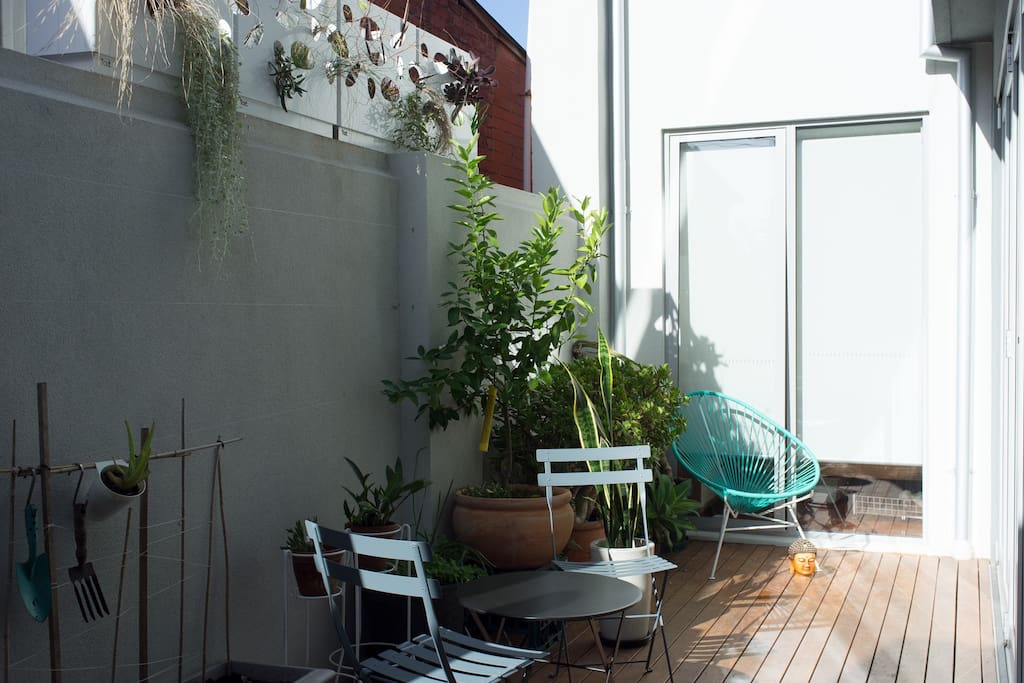 Peaceful private courtyard, great spot to have breakfast and read the paper on a sunny day.