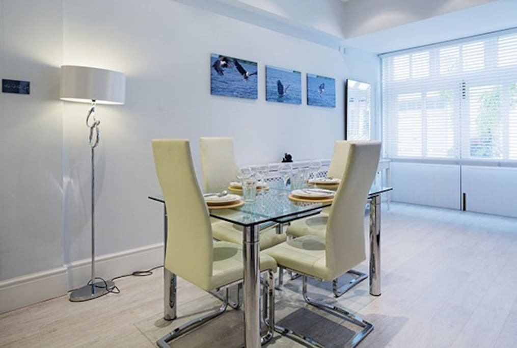 Stylish spacious dining area with extending table