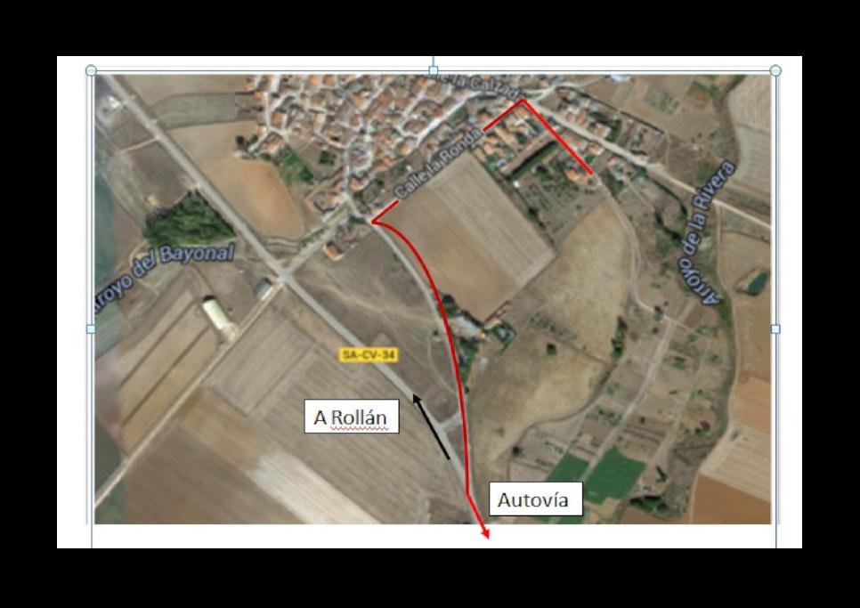 mapa aéreo de la ruta de acceso a la finca.