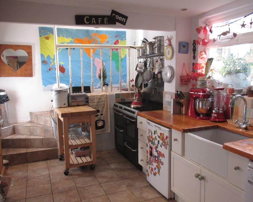 Galley Kitchen, with range cooker