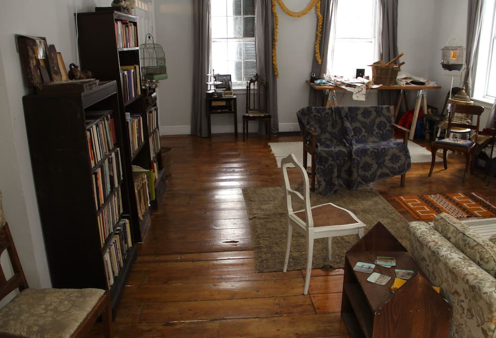 often an area where artists, writers & performers convene (you'll spot some art supplies on a table in the background)