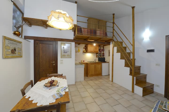 Camera con angolo cucina