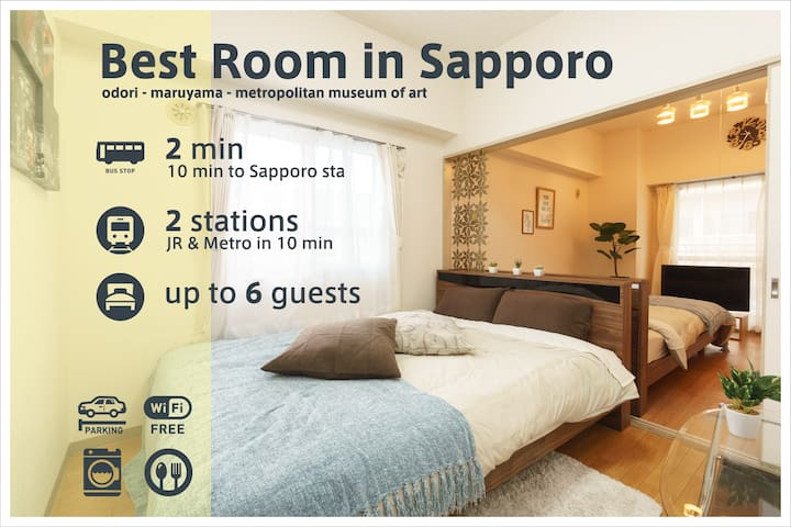 6ppl, Wifi, 2min to Odori, 10min to Sapporo.AS760
