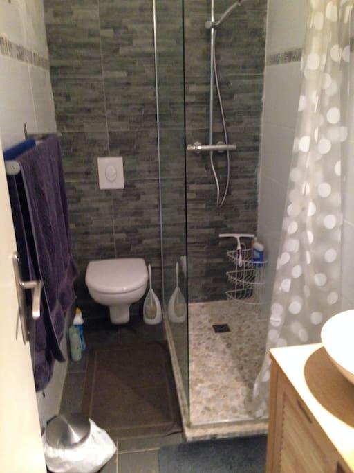 douche à l'italienne et wc et vasque