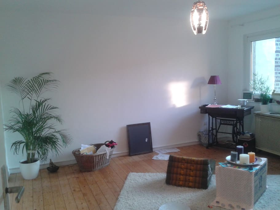 Geräumiges Wohnzimmer asiatisch eingerichtet mit Schlafsofa und Holzschränken
