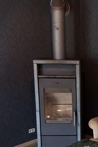 Paterre: Wohnzimmer mit Kamin