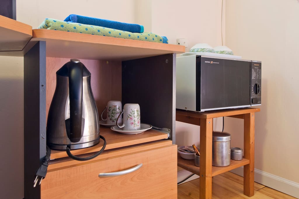 Microwave, kettle and towels are available in your room