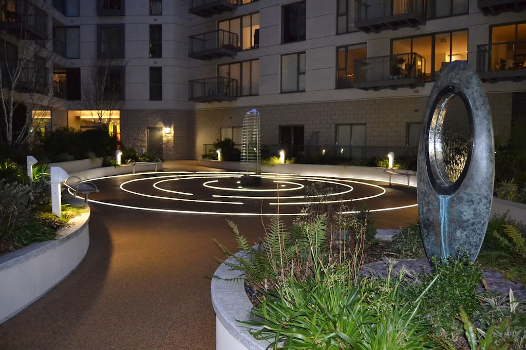 Residents' garden at night. You can get an aerial view from our apartment.