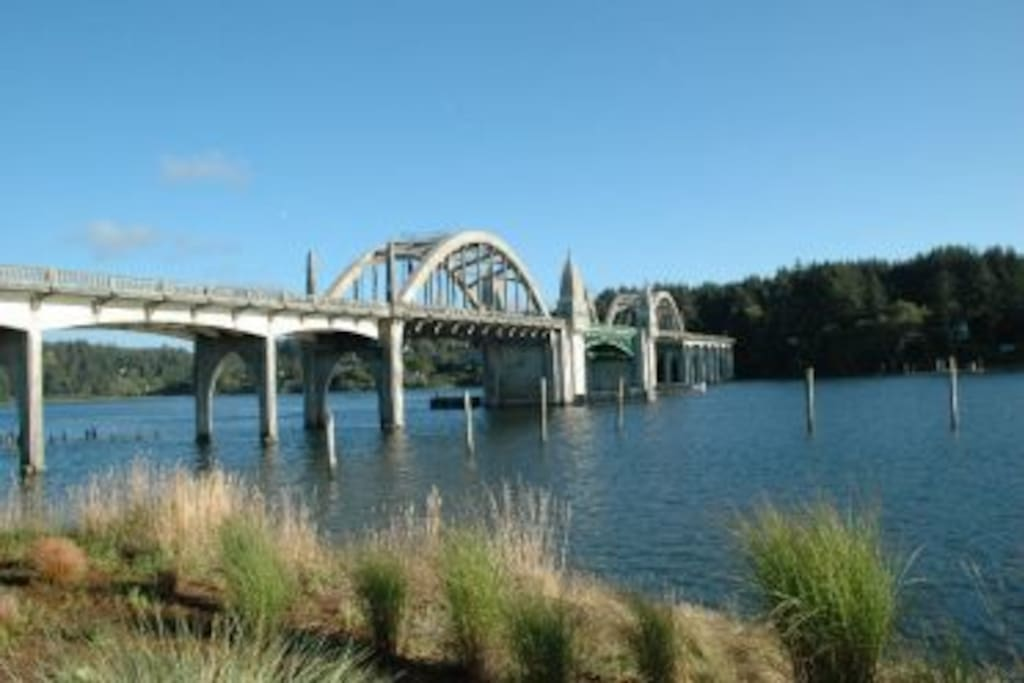 View from the patio of the historic Siuslaw River Bridge