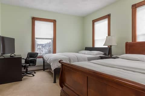 Large clean room in a beautiful Victorian house