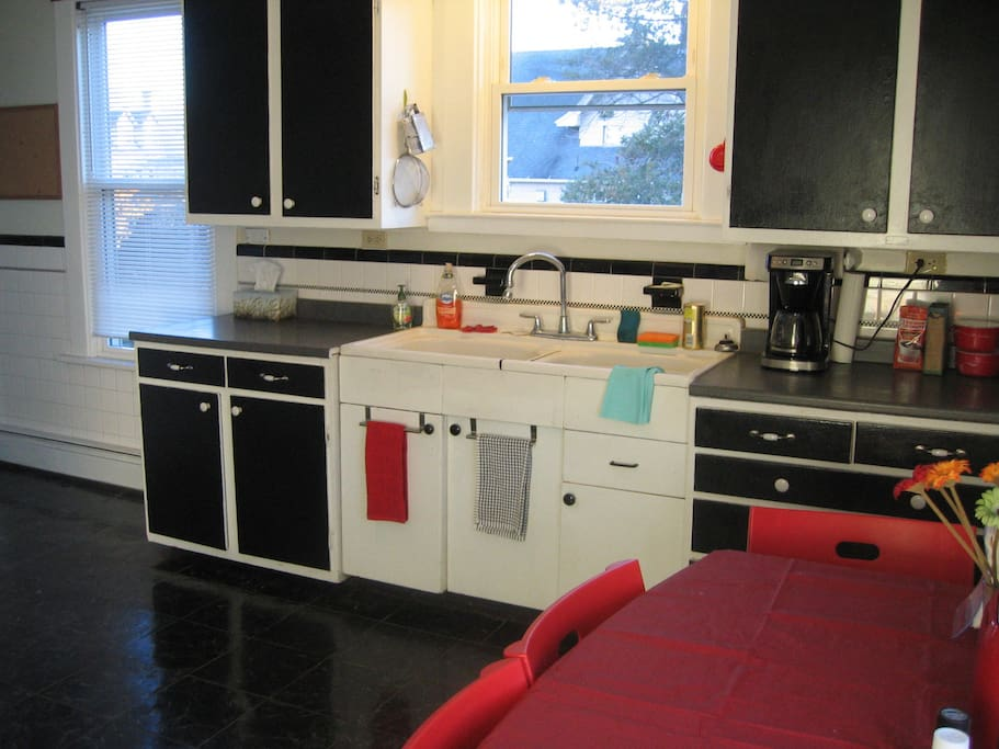 Large kitchen, fully supplied with pots, pans, dishes, etc.