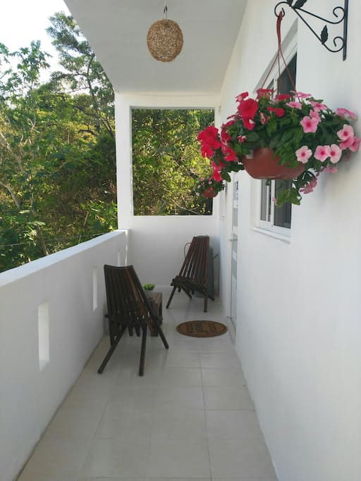 The upstairs small terrace entrance to the Studio/Apartment