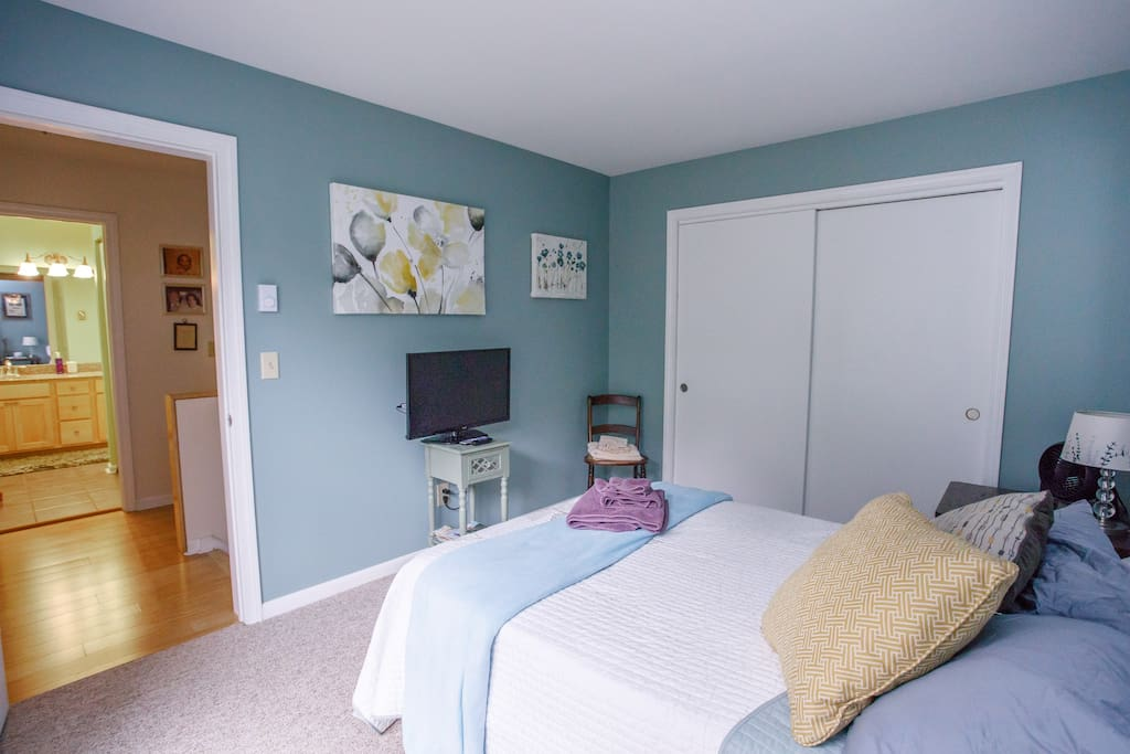 Guest Bedroom with TV and blackout curtains