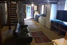 Basement with washer and drier.