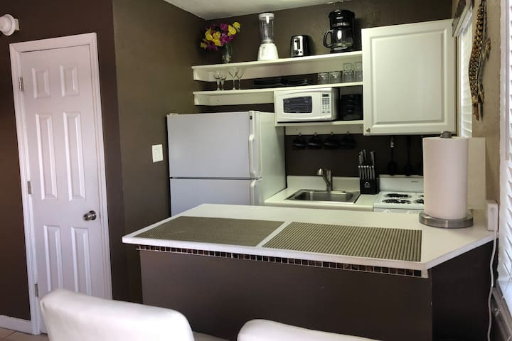 The kitchen is very well appointed with appliances, pans, and utensils.  If you need a specialized item just ask and we will do our best to accommodate.