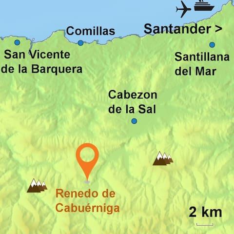 Localización de la casa en medio de la reserva Saja-Besaya