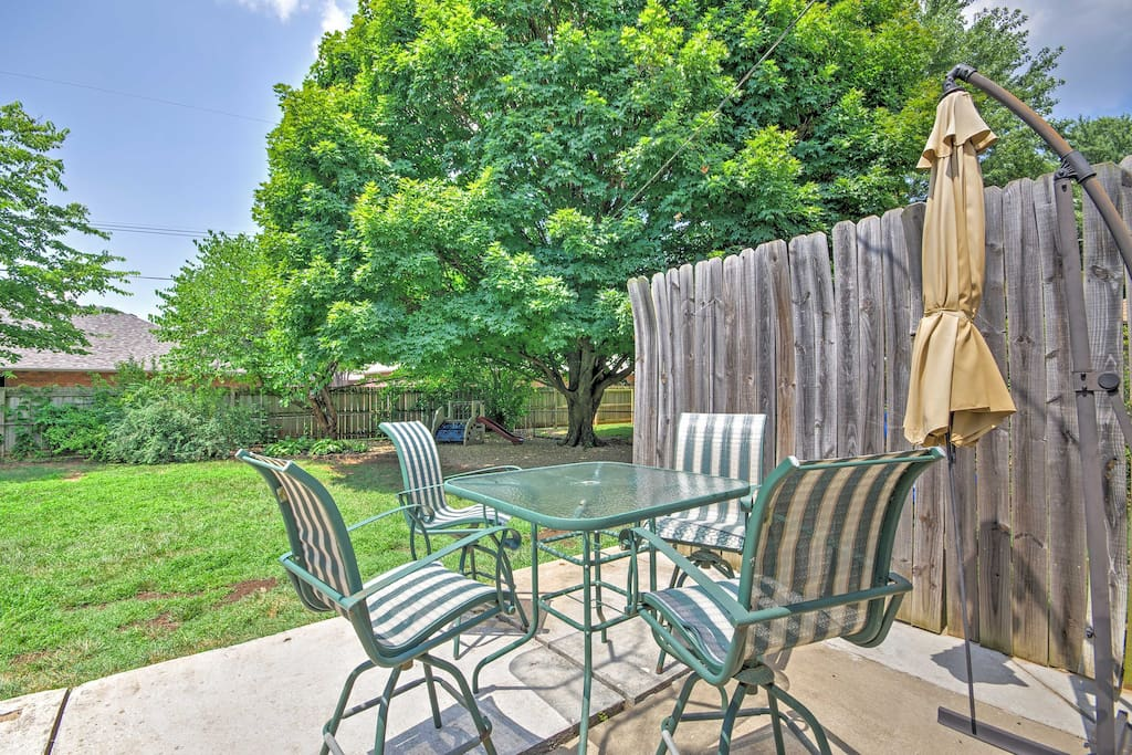Enjoy the beautiful, gated outdoor space, perfect for spending sunny days outside!