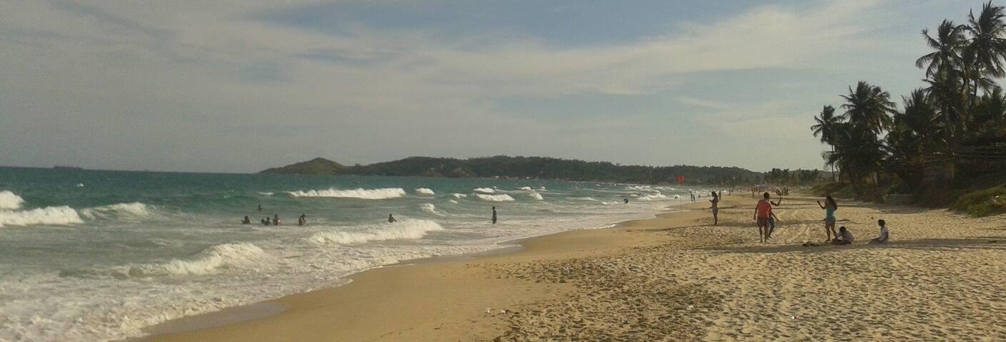 Studio em bela praia com piscinas naturais e ondas