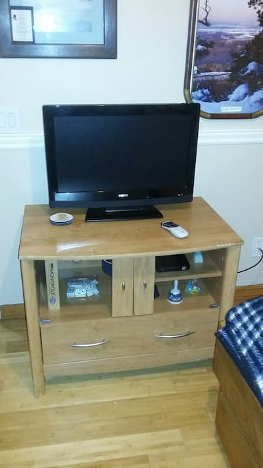 TV with DVD built in and satellite TV service