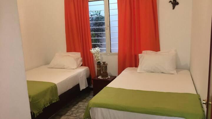 Habitación con dos camas, tv y baño compartido.