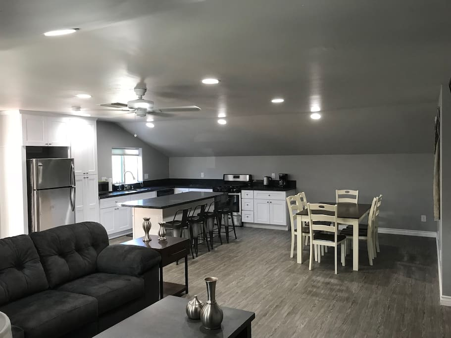 Kitchen and dining room areas