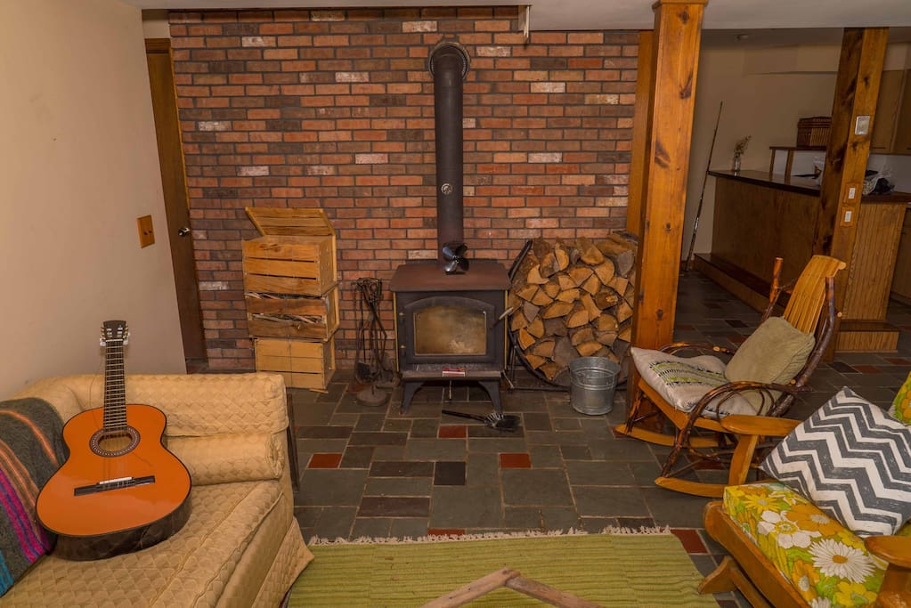 Cozy woodstove in common room