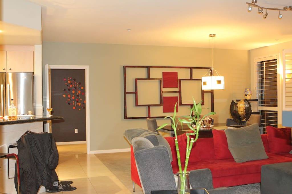 Open living space that incorporates Living room & dining room & Kitchen.  Table seats 8